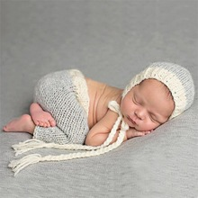 High Quality New 0-6month Baby Crochet Photography Props Newborn Photo Cool Boy Costumes Infant Beanies And Pants Clothing Set(China)