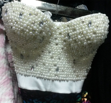 2015 hot new Women clothing pearl DIY chain women sexy pearl handmade bustier bra crop top