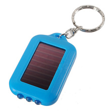 PROMOTION!10X Mini Solar Power Rechargeable 3LED Flashlight Keychain - Blue(China)