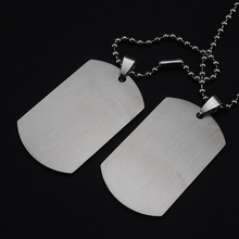 Personalized Engraving A Set of Two Pieces Men's Military Army Stainless Steel Blank Double Dog Tag Necklace Ball Chain 60cm