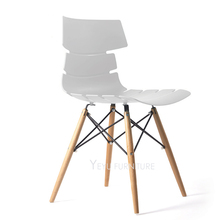 Modern Design Plastic and Solid wood Dining Chair, colorful wooden leg cafe chair, dining room furniture, loft meeting chair 1PC