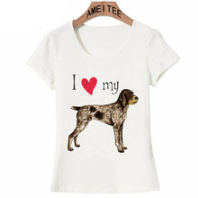 I Love my German Wirehaired Pointer Dog T-Shirt Summer Newest Women T Shirts Woman Tops Hip Hop Tees(China)
