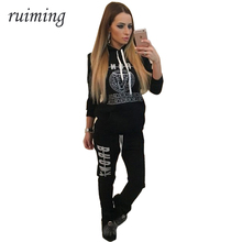 2017 Women 2 Pieces Set Female Spring Tracksuit  Print Cotton Hoodies Top Pants Ladies Long Sleeve Femme Sporting Suits RM082