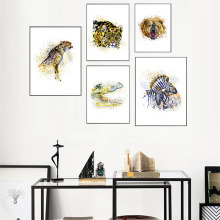 Watercolor Animals Deer Zebra Lion Canvas Painting A4 Wall Art Nursery Poster Prints Pictures for Kids Room Home Decor No Frame