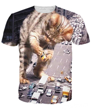 Women Men Kitty Zilla T-Shirt 3d print fully sublimated tee vibrant shirt Godzilla Cat terrorizing a city fashion t shirt tops(China)