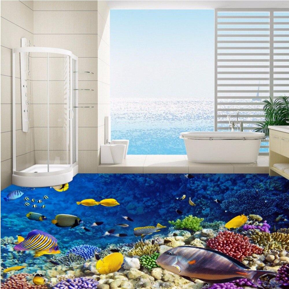 Free Shipping custom Underwater World Aquarium 3D Flooring paste bathroom lobby aisle floor background wallpaper mural<br>