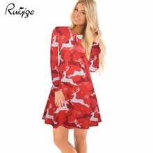 Ruiyige 2017 Fashion Autumn And Winter Funny Christmas Deer Printed Canada Women Clothes O-Neck Long Sleeve Knee-Length Dresses(China)