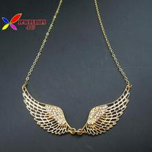 New 2015 summer fashion vintage golden hollow angle wings rhinestone false collar pendant necklace for women para el collar