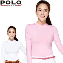 Brand POLO Ladies Golf Sexy Shirts with Velvet for Autumn and Winter , Women Long-sleeve Sexy Sports Apparel. Fitness Gym Sport(China)