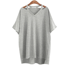 2016 Summer Fashion Plus size XL- 5XL Cotton Off Shoulder Women T-shirt Long V Neck Sexy Casual Loose Tops Ladies Tees