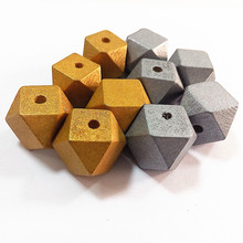SANSHOOR 20mm Natural Unfinished Wood Gold And Silver Color Geometric Wooden Beads Accessories Jewerly For Diy 50Pcs/lot