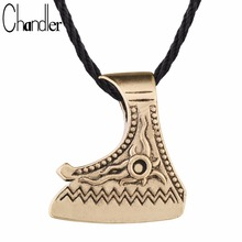 Chandler Perun Axe Necklace Viking Axe Son Of The Sun Antique Silver Gold Color Plated Rope Chain Adjustable Personality Jeweley(China)