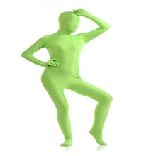 Adult Full Body Spandex Lycra Zentai Suit Grass green Tight Suits Pure Color Halloween Party Unitard(China)