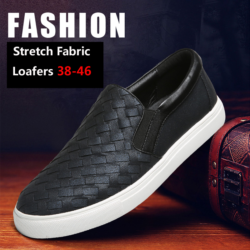 2017 New Fashion Stretch Fabric Loafers Men Black Casual Mens Shoes Flats Top Quality Design Breathable Slip On Men Shoes 38-46(China (Mainland))