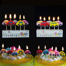 5Pcs/lot Vehicle Birthday Candles Cup Cake Candles Decoration Car Green Bus Truck Smokeless Topper Enclosed