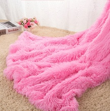 Top Quality Fluffy Plush Fleece Blankets for Beds Soft Throw Blanket Air Conditioning Manta Pink Grey Plaids Bedspreads Cobertor(China)