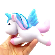 Blue Cool Unicorn Scented Squishy Charm Slow Rising 11cm Cartoon Doll Cream Scented Toys gifts for Kids children office gadgets(China)