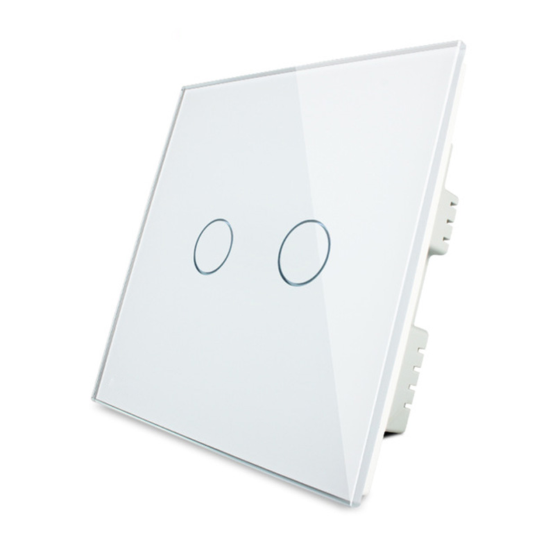Livolo UK Standard Wall Light Switch,  Luxury Crystal Glass Panel Touch Light Switch,2 Gang 1 Way Light Switch For Smart Home<br><br>Aliexpress