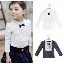 4T to 12T kids & teenager girls bib-front lace long sleeve fall winter cotton base t-shirt children princess casual t shirt tops