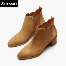 {Zorssar} 2018 NEW fashion Retro style women Martin boots Cow suede Round Toe thick heel ankle boots autumn winter women shoes