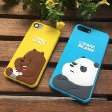 For iPhone 7 7Plus 6 6P 5 5s SE Polular 3D Cartoon brown white bear panda we bare bear lady soft silicone phone case cover cheap