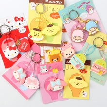 Anime Cartoon Silicone Key Cover Hello Kitty Doraemon Rilakkuma Mini Key Cover Key Caps Lovely Keychain Keyring For Kids Gift(China)