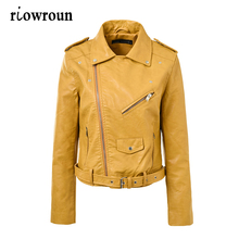 2017 Women Leather Jacket Short Washed PU Zipper Bright Colors Ladies Slim Fit Basic Jackets Women Coats Casual Street Yellow(China)