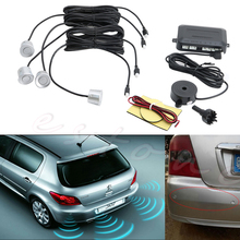 4 Parking Sensors Buzzer Car Reverse Backup Rear Radar System Sound Alarm Silver