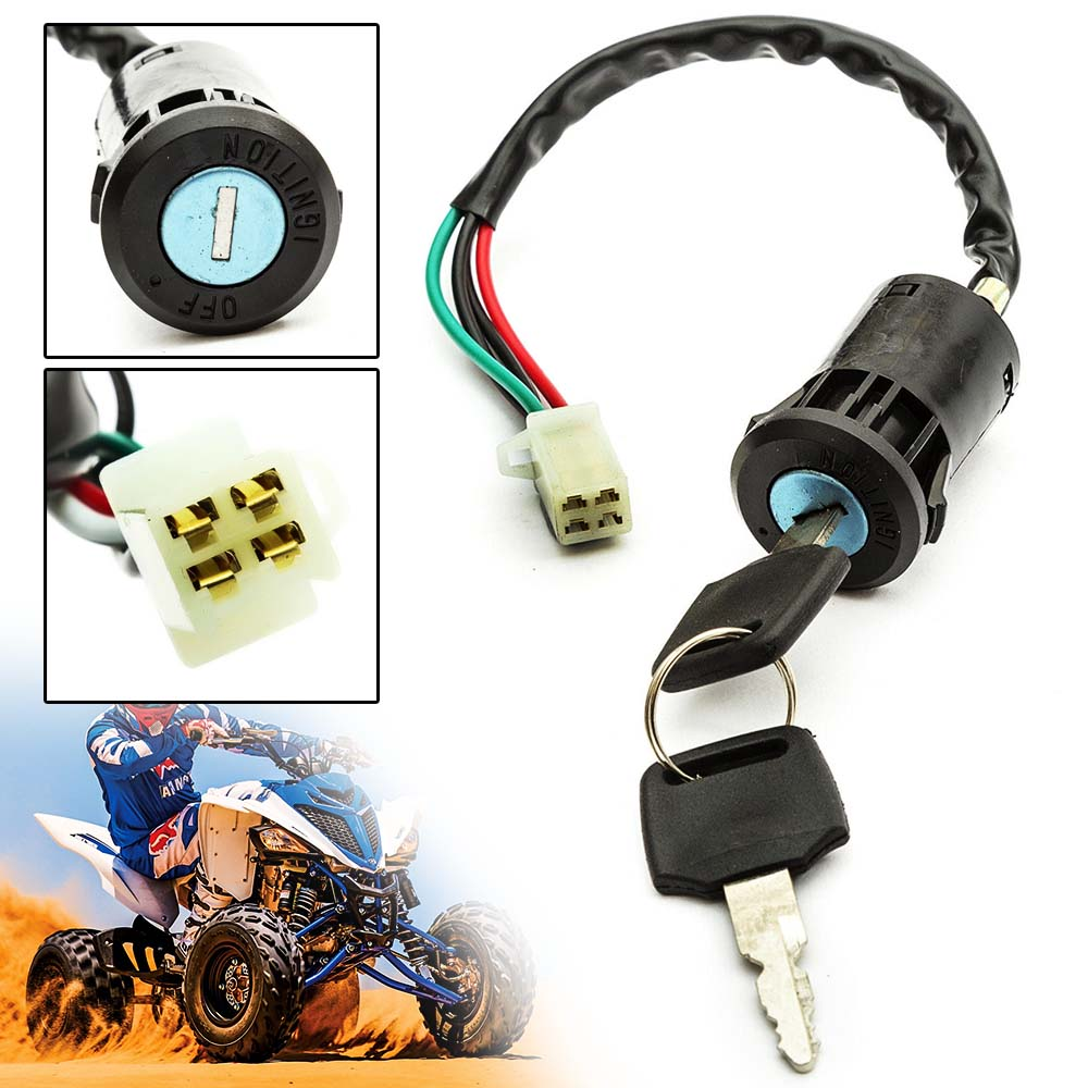 1PC Black Ignition Key Switch Electric Door Lock 4 Pin ON OFF For 110cc 125cc 140cc Pit Off-road Quad Pocket Bikes