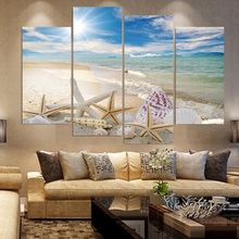 HD Wall Modern Canvas Printed Art Framework Pictures 4 Pieces Sand Beach Shell Starfish Seascape Paintings Home Decor Posters(China)