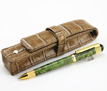 New fine green ice pattern Ballpoint Pen  Elegant Stationery Executive Writing Pens for gift and Luxury leather bag