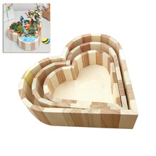 Children Kid Baby Wooden Crafts Toys Wood Jewelry Box Love Heart Shape DIY Mud Base Art Decor  Sale