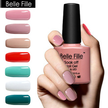 BELLE FILLE UV Gel Nail Polish 10ml Nude Pink Red White Green Gel Polish Soak-off Gel For Nails Lacquer Vernis Semi Permanent 01(China (Mainland))