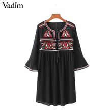 Vadim women vintage geometric embroidery dress bow tie three quarter sleeve summer casual pleated dresses vestidos QZ3038