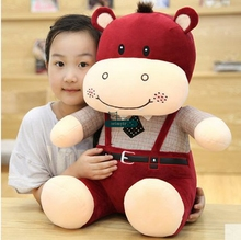 Dorimytrader Big 50cm Giant Soft Cartoon Hippo Plush Toy 20'' Stuffed Animal Hippos Kids Play Doll Pillow Baby Present DY61377(China)