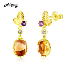 MoBuy MBEI007 Leaf Natrual Gemstone Citrine & Amethyst Drop/Dangle Earrings 925 Sterling Silver 14K Yellow Gold Plated For Women