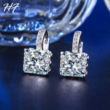 Classic Design Sliver Color Cushion Cut Big CZ Crystal Luxury Wedding Hoop Earrings for Women E820(China)