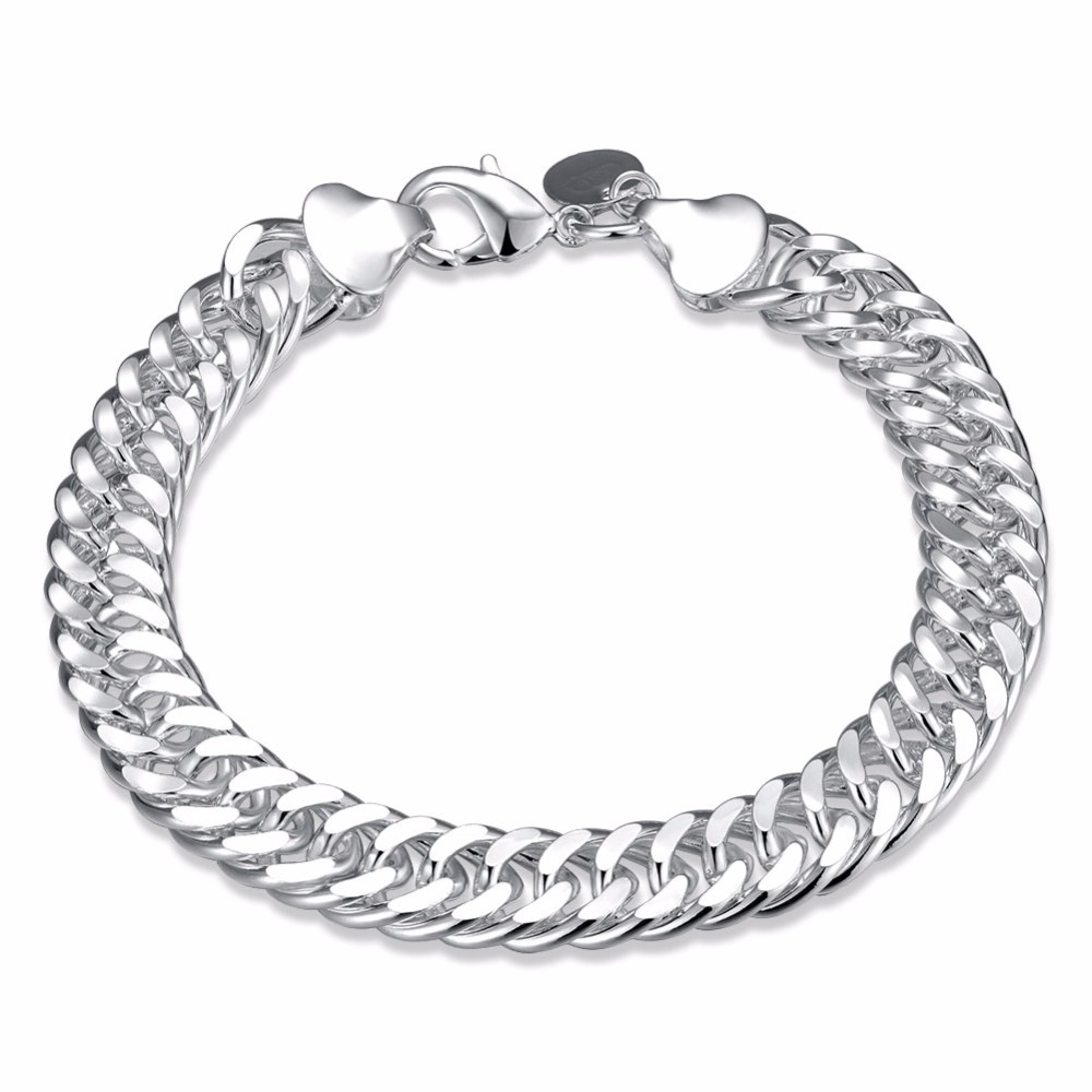 10MM 925 pure silver plated cm hand link chain Bracelets & Bangles For Women Men New Fashion silver Jewelry Wholesale 2
