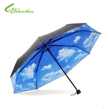 Blue Sky Umbrella Rain Women 3-Fold Sunblock UV Block Protection Travel Compact Lightweight Umbrella Blue Sky & White Cloud