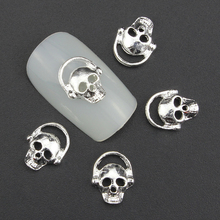 Blueness 10PcS Silver Alloy Glitter 3D Nail Art Skull Decorations with Rhinestones Nail Charms, On Nails Salon Supplies TN948