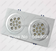 24W(2*12W) 24-LED Dual-Head Recessed Ceiling Cabinet Light Fixture Downlight/Spotlight Bulb Lamp Rectangle AC 110V/220V