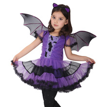 Fancy Masquerade Bat Girls Dress Witch Clothing Halloween Costume for Girls with Wings Costume for Kids Purim Carnival Costumes
