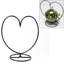 Miniatures Fairy Garden Ornament Heart Hanging Stand Flower Plant Home Office Wedding Decor Vase Metal Plant Stand Hanging