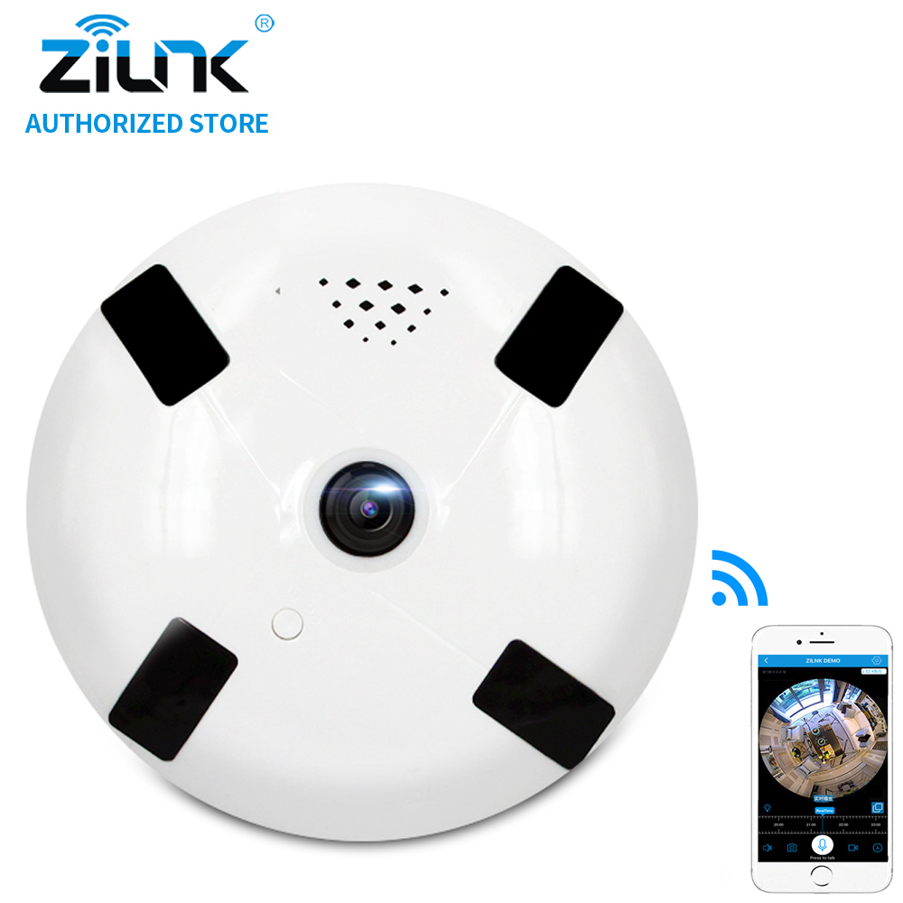 ZILNK Mini 2MP Fisheye Camera 1080P 360 Degree Panoramic IP Two Way Audio IR Led SD Card Smart Home Security CCTV VR Cam White<br>