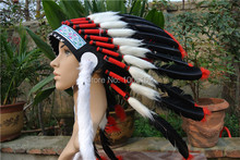 Chief Indian feather Headdress Native American headdress indian feather costumes War Bonnet Hat indian headdress of black color(China)