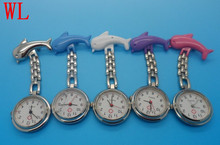 100pcs/lot mixed wholesales hot sales good quality women stainless steel watch Fashion multicolor medical dolphin nurse watch(China)