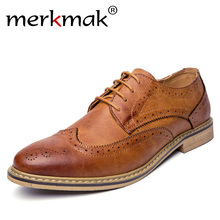 Merkmak New 2018 Luxury Leather Brogue Mens Flats Shoes Casual British Style Men Oxfords Fashion Brand Dress Shoes For Men(China)
