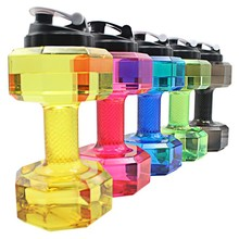 2.5L Dumbbells Shaped Plastic Big Large Capacity Gym Sports Water Bottle Outdoor Fitness Bicycle Bike Camping Cycling Kettle New(China)