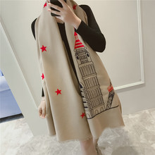 2016 New Winter Scarf Women Luxury British Style Tower Print Pashmina Thicken Warm Cashmere Big Shawl Womans Tippet Long Scarfs