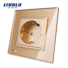 Free Shipping,Livolo EU Standard Power Socket, Golden Crystal Glass Panel, AC 110~250V 16A Wall Power Socket, VL-C7C1EU-13